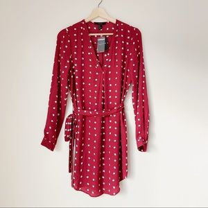 Forever 21 Red Long Sleeve Tie Dress